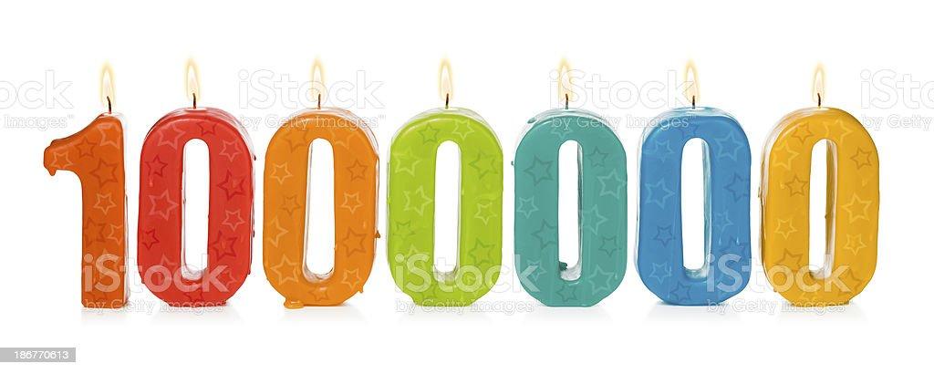 One million birthday candles stock photo