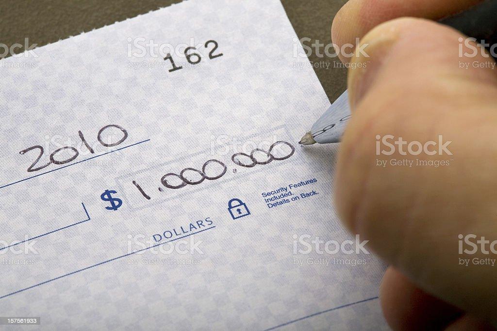 one million dollar check stock photo