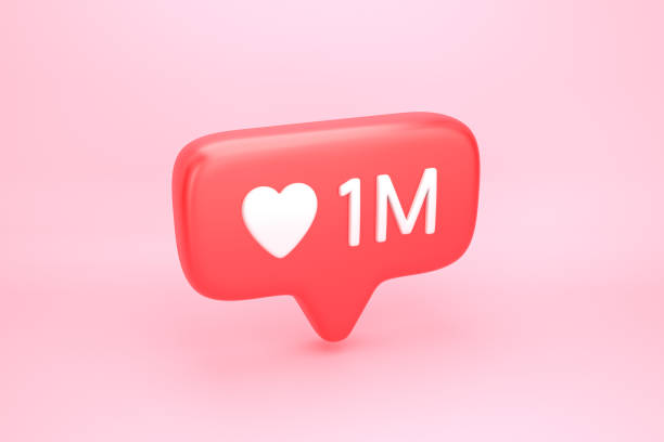 One million likes social media notification with heart icon One million likes social media notification icon with heart symbol and number 1M on like counter. 3D illustration millionnaire stock pictures, royalty-free photos & images