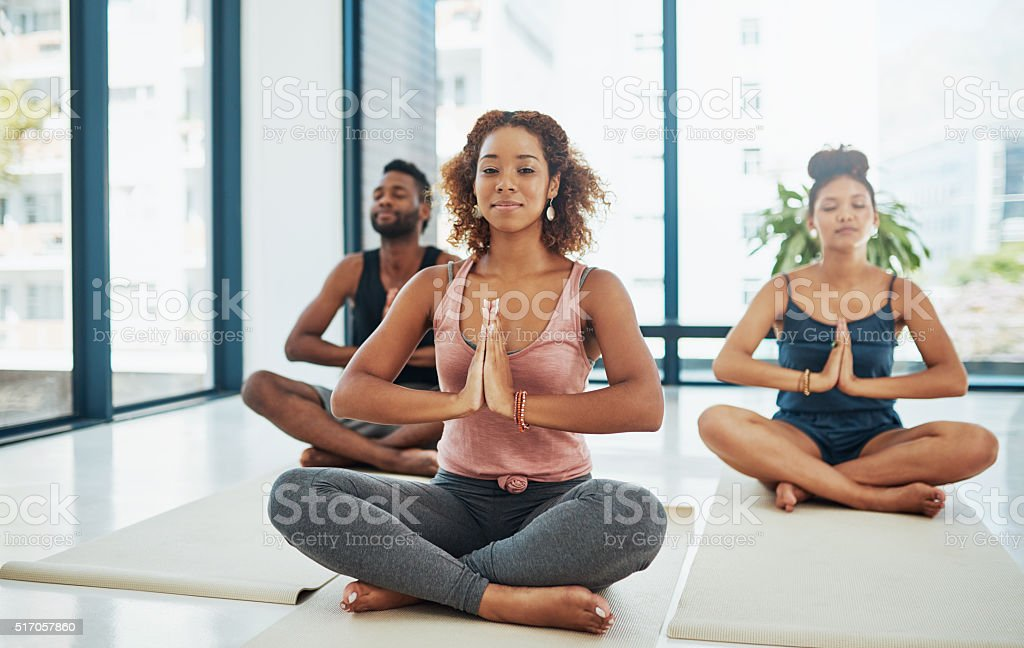 One moves into an asana till the limit is felt stock photo