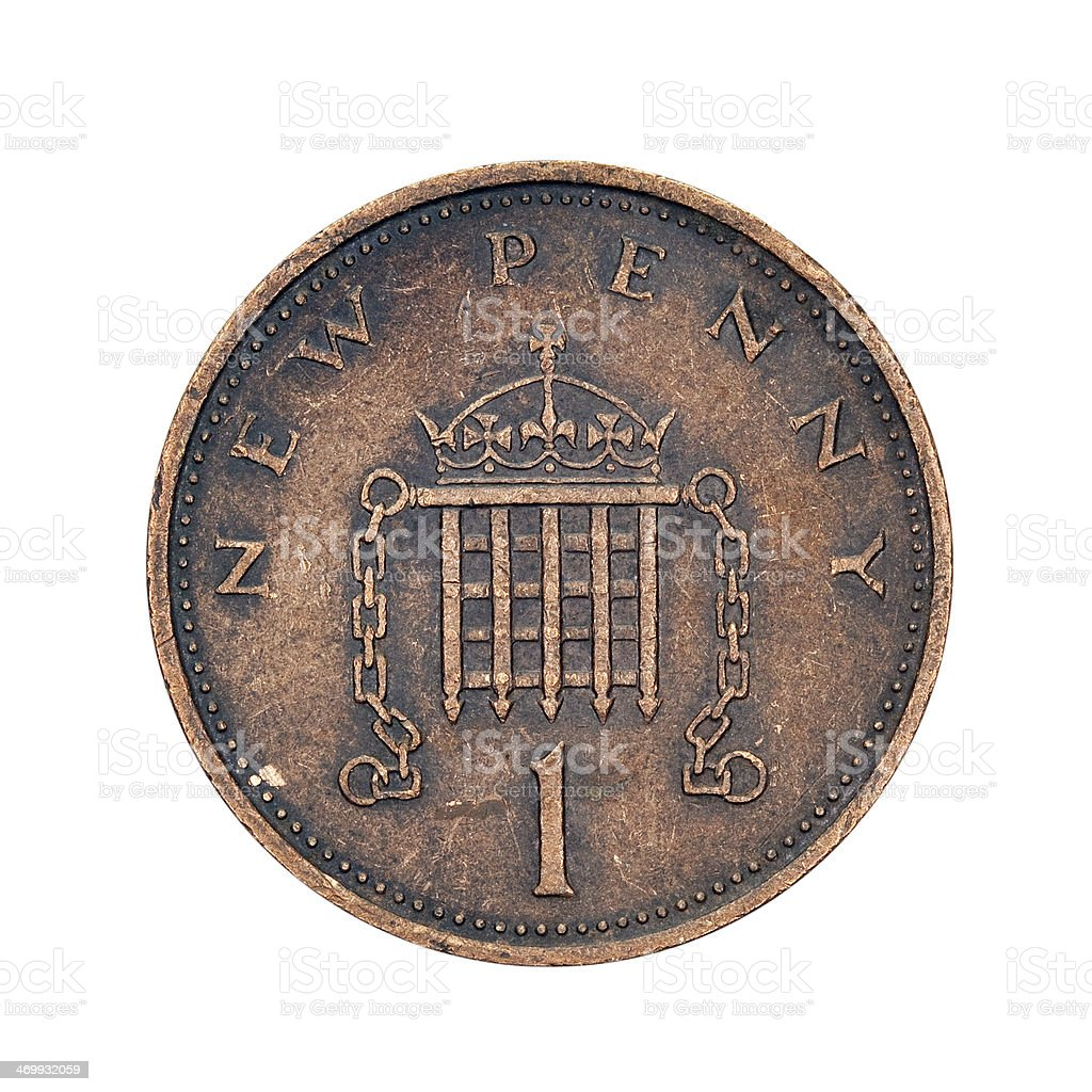 One New Penny Coin, UK, 1971 stock photo