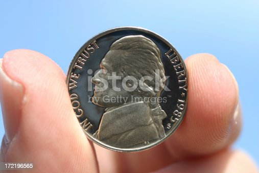 a nickel held in a hand