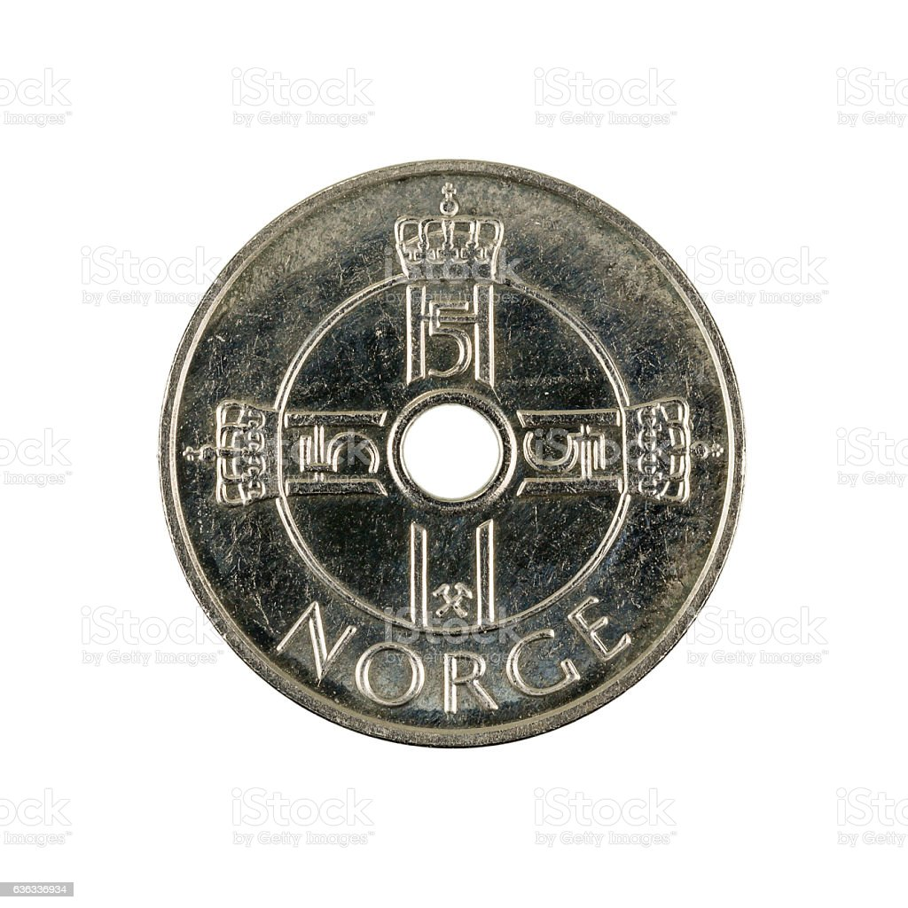 one norwegian krone coin (2010) isolated on white background stock photo