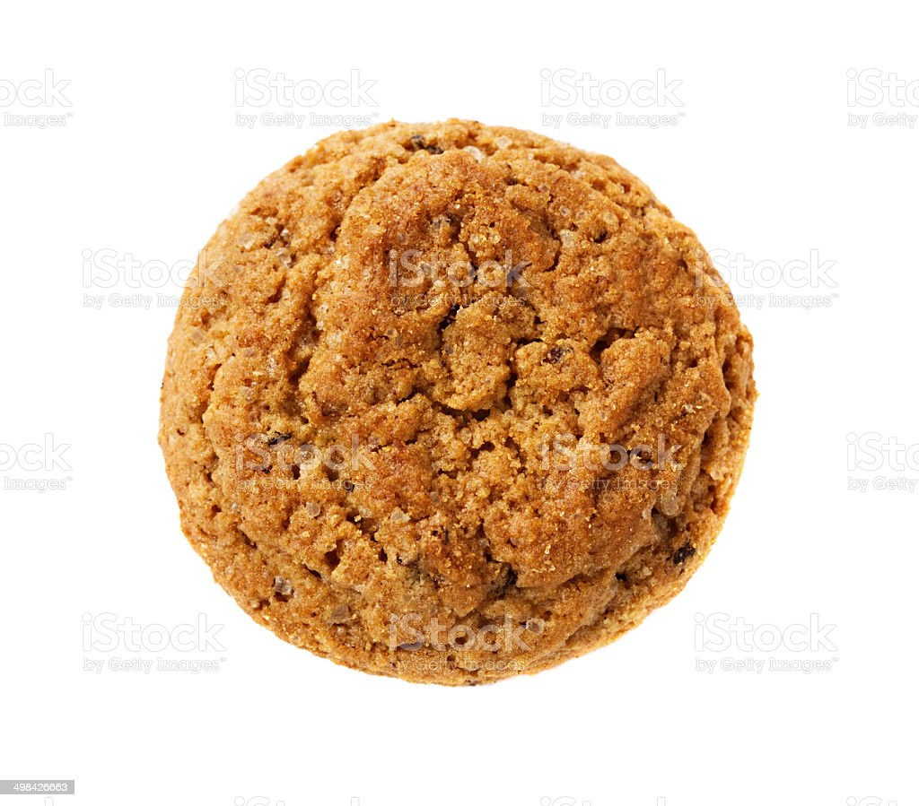 one oatmeal cookie isolated stock photo