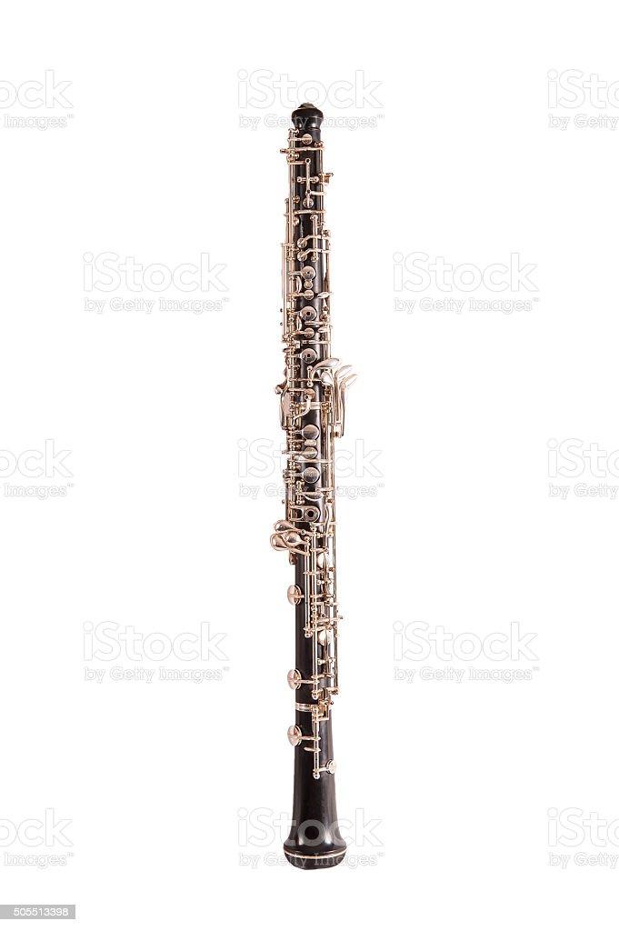 one oboe isolated on white background stock photo
