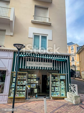 Biarritz, France - May 04, 2019: One of numerous Real Estates Agencies  in Biarritz city center