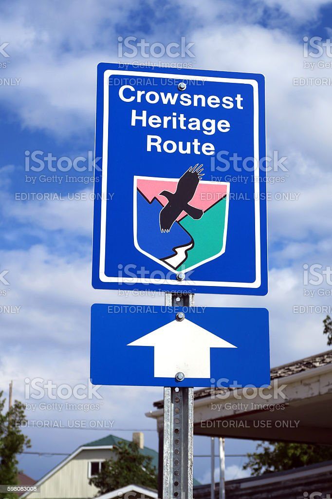 One of several signs for the Crowsnest Heritage Route stock photo