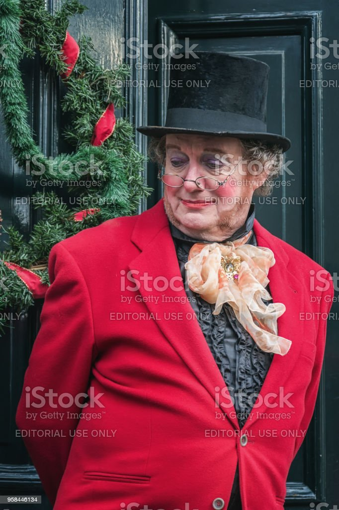 One of the characters acting during the Dickens Festival stock photo
