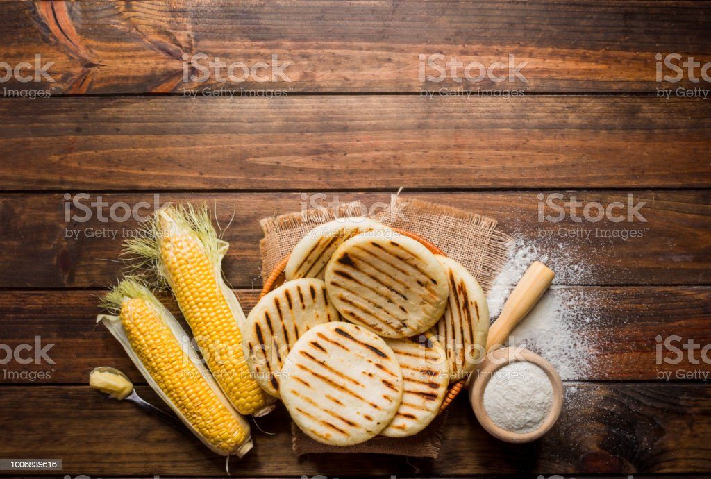 One of the dishes of the traditional Latin American cuisine, arepas of pre-cooked corn stock photo