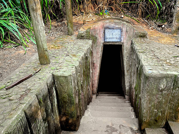 One of the Entrances to Vin Moc Tunnels, Vietnam Vinh Moc is a tunnel complex in Quảng Trị, Vietnam that was built to shelter people from the intense bombing of Son Trung and Son Ha communes in Vinh Linh county of Quảng Trị Province in the Vietnamese Demilitarized Zone. viet cong stock pictures, royalty-free photos & images