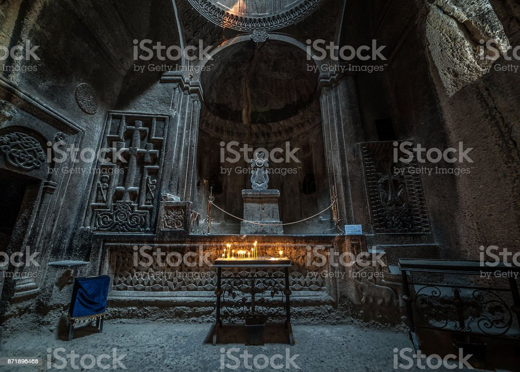 One of the forty altars of the monastery of Geghard. stock photo