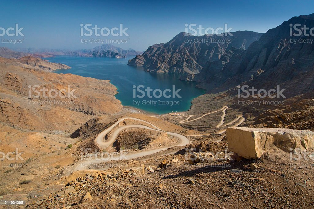 One of the khors (fjords) in Musandam, Oman stock photo