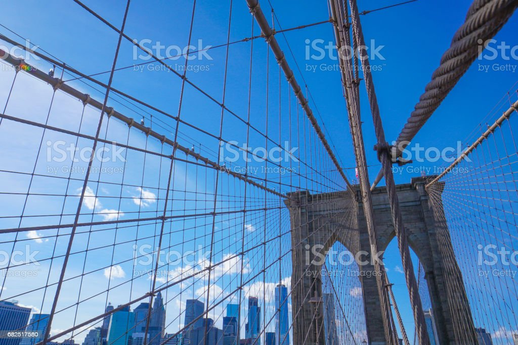 One of the main attractions in New York - famous Brooklyn Bridge- MANHATTAN - NEW YORK - APRIL 1, 2017 royalty-free stock photo