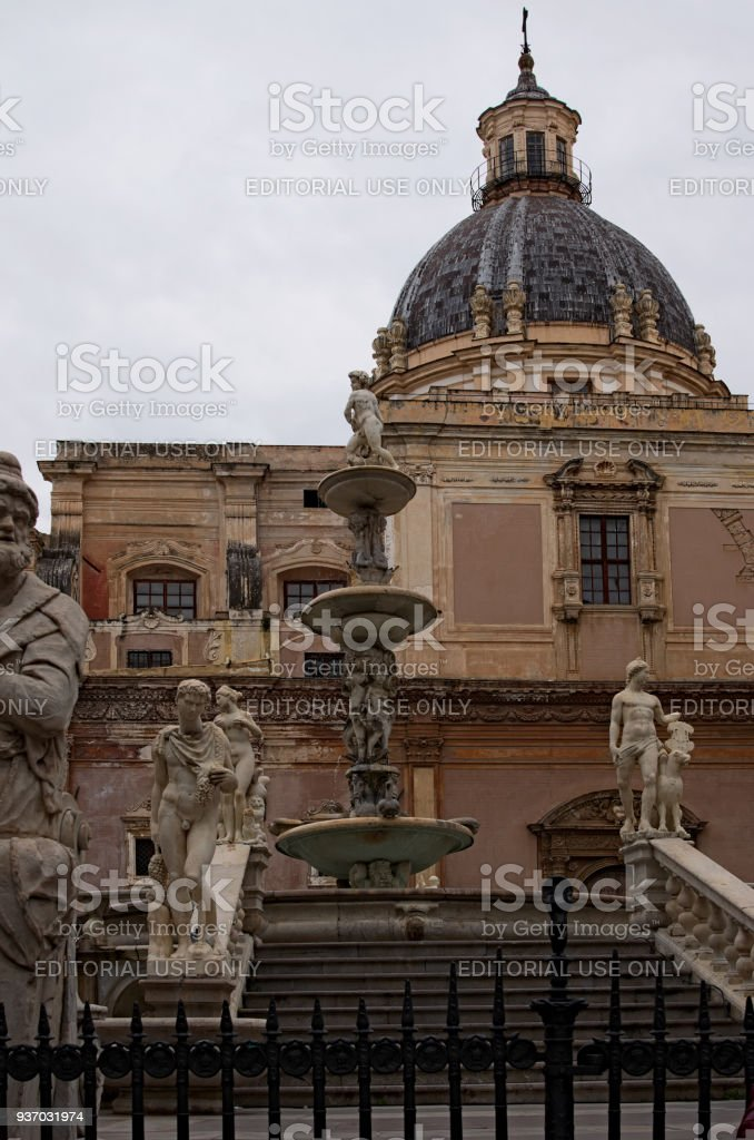 One of the main attractions of city - Praetorian Fountain . Dome of...