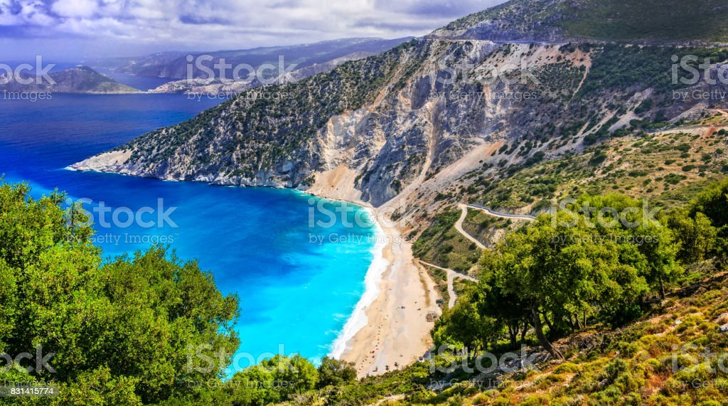 One of the most beautiful beaches of Greece- Myrtos bay in Kefalonia, Ionian islands stock photo