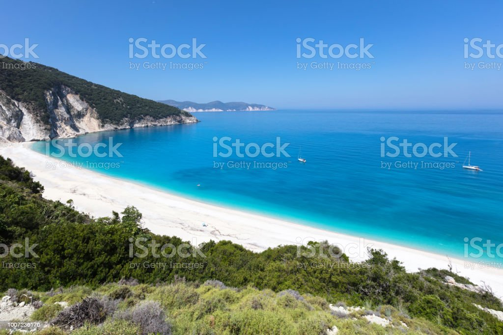 One of the most popular beaches in Greece stock photo