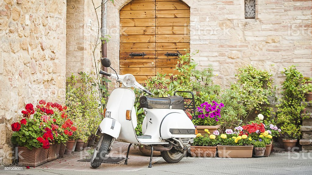 One of the most popular transport in Italy, vintage Vespa royalty-free stock photo