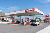 Buffalo, New York, USA - September 22, 2019: One of the Speedway gas station in Buffalo, New York; Speedway LLC is an American convenience store and gas station chain.