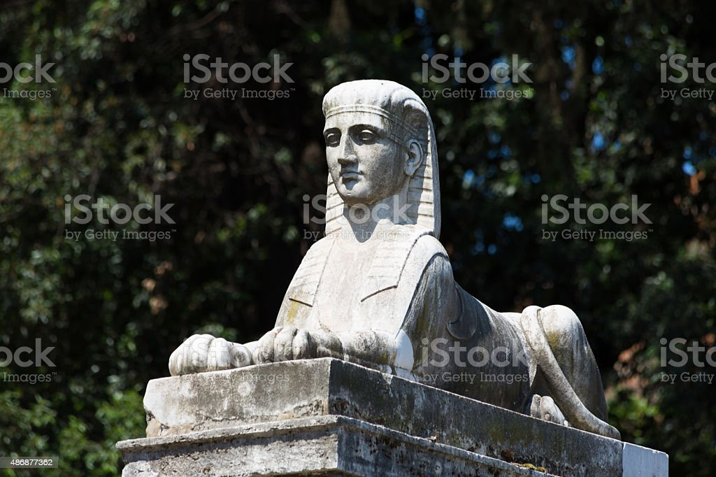 One of the sphinxes in Piazza del Popolo, Rome stock photo