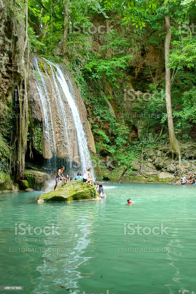 One of the steps of Erawan Park stock photo