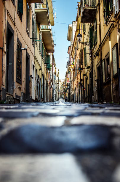 one of the streets in frascati. rome. italy. - rome road central view foto e immagini stock