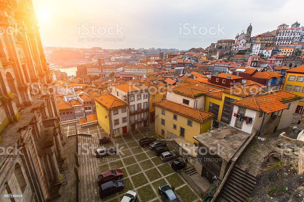 One of the streets of Porto old town, Portugal. stock photo