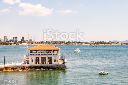 Moda,istanbul,Turkey-june 8,2019.General view from Moda pier in istanbul.One of the symbols of Kadıköy, the historical Moda Pier built 100 years ago by architect Vedat Tek.