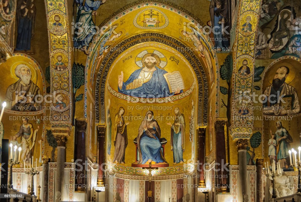 One of the three apses of Cappella Palatina - Palermo stock photo