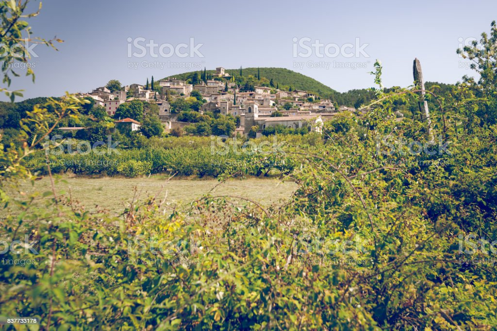 One of the typical authentic French mountain villages in the countryside stock photo