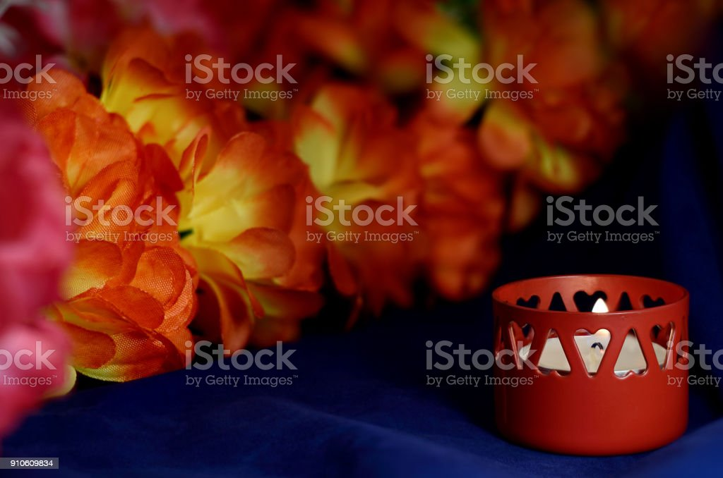 one of the wax candles stand stock photo