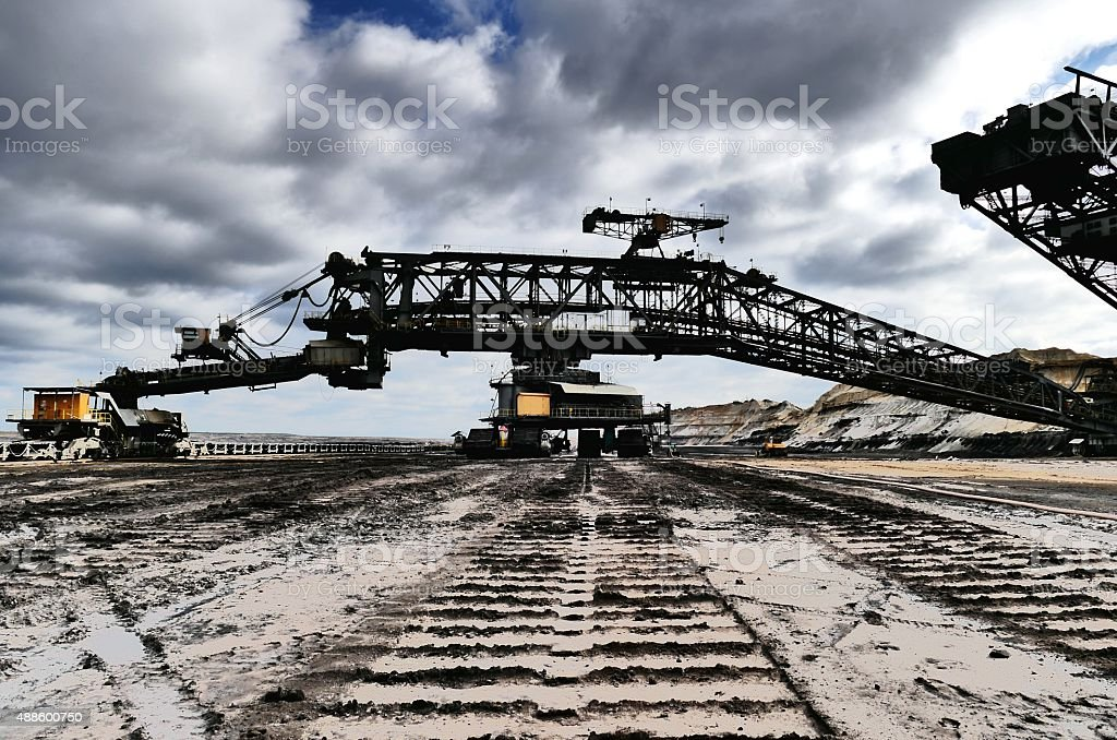One of the world's largest bucket-wheel excavators digging for lignite stock photo