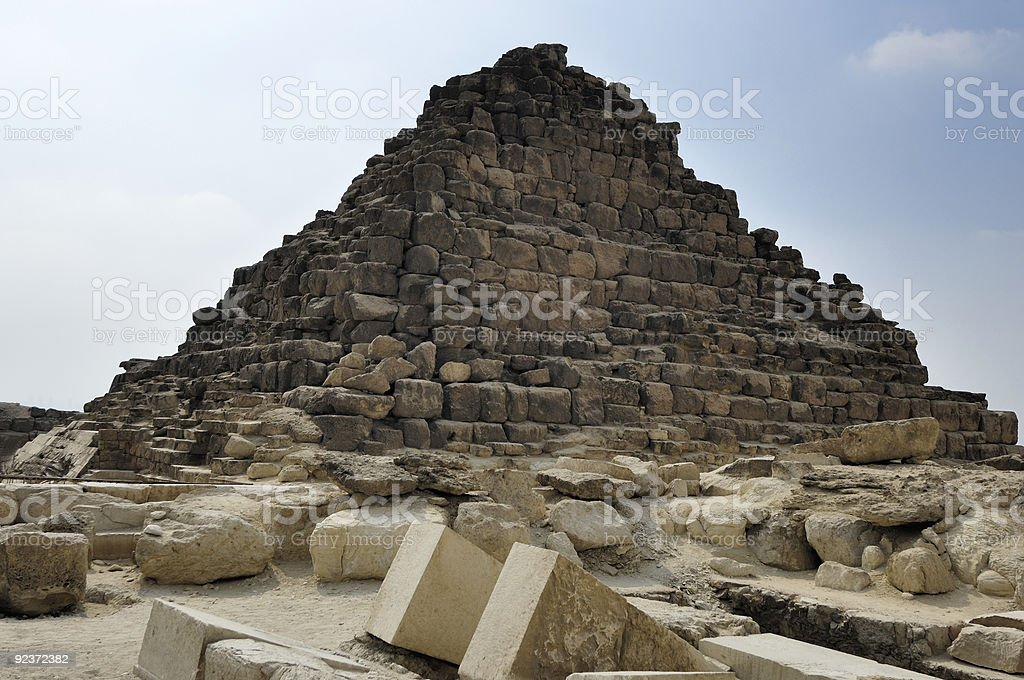 One of tree Menkaure Queens Pyramids royalty-free stock photo