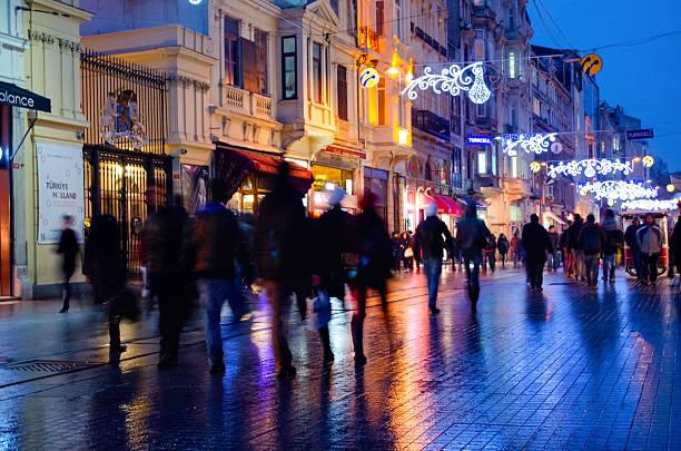 one of turkey's most famous street istiklal street, fuzzy view - istiklal avenue bildbanksfoton och bilder