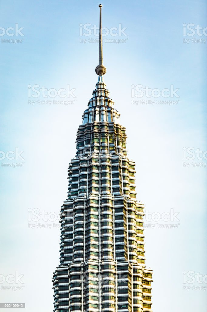 One of two Petronas towers stock photo