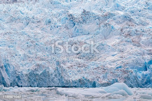 South Sawyer Glacier is one of two tidewater glaciers at the head of Tracy Arm in southeast Alaska