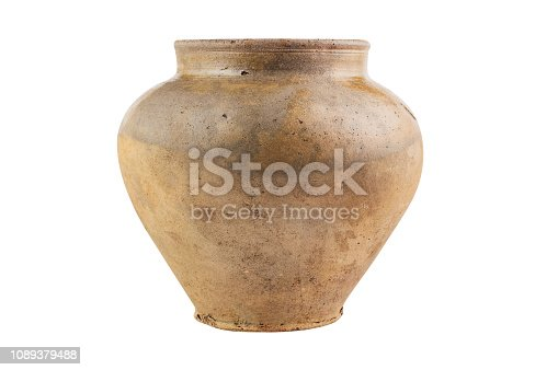 One old antique worn and dirty vase isolated on white background