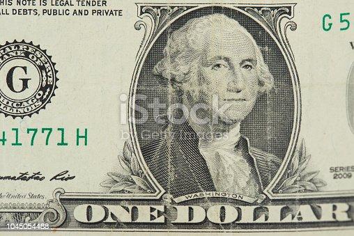 One old dollar bill banknotw with washington president