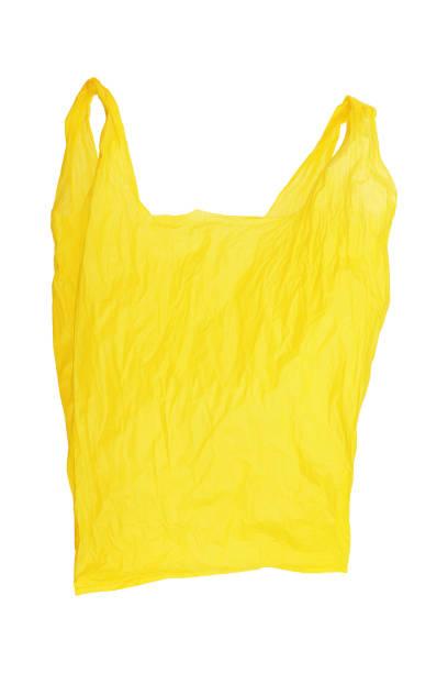 ouvert froissé jaune sachet isolé sur blanc - sac en plastique photos et images de collection