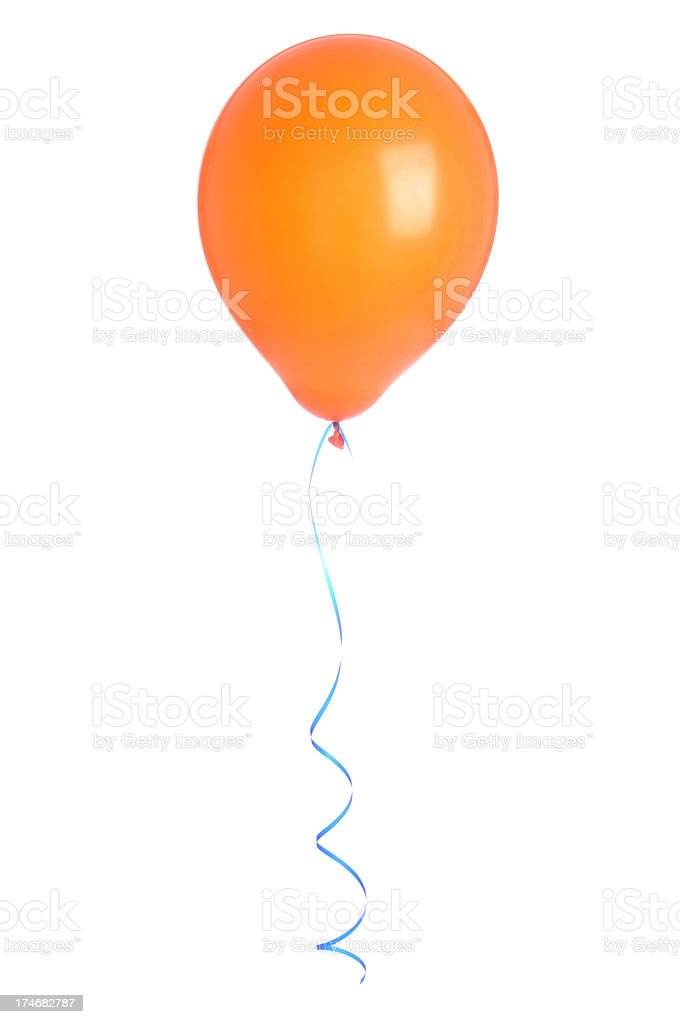 One orange balloon with a blue string floating on white back stock photo