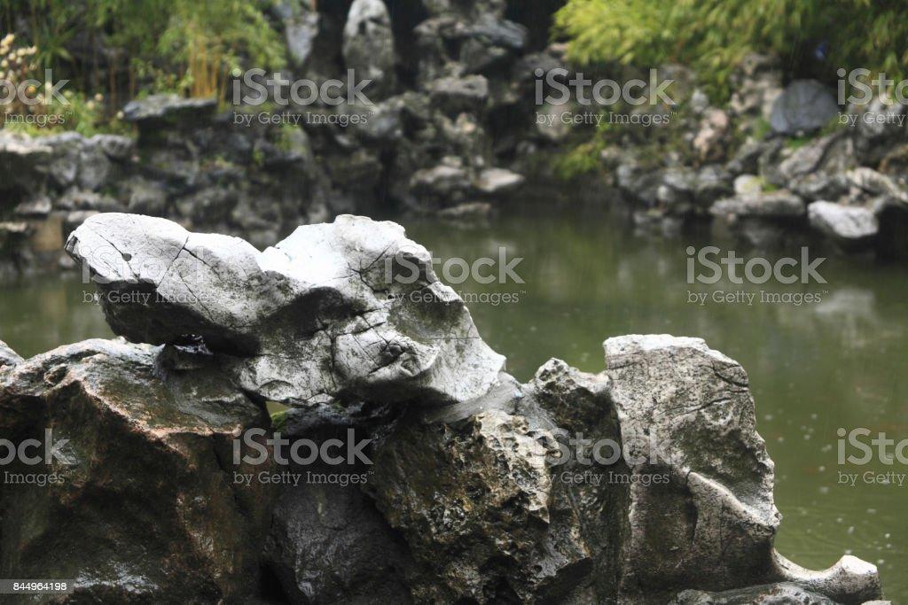One Orchard Lake stone stock photo