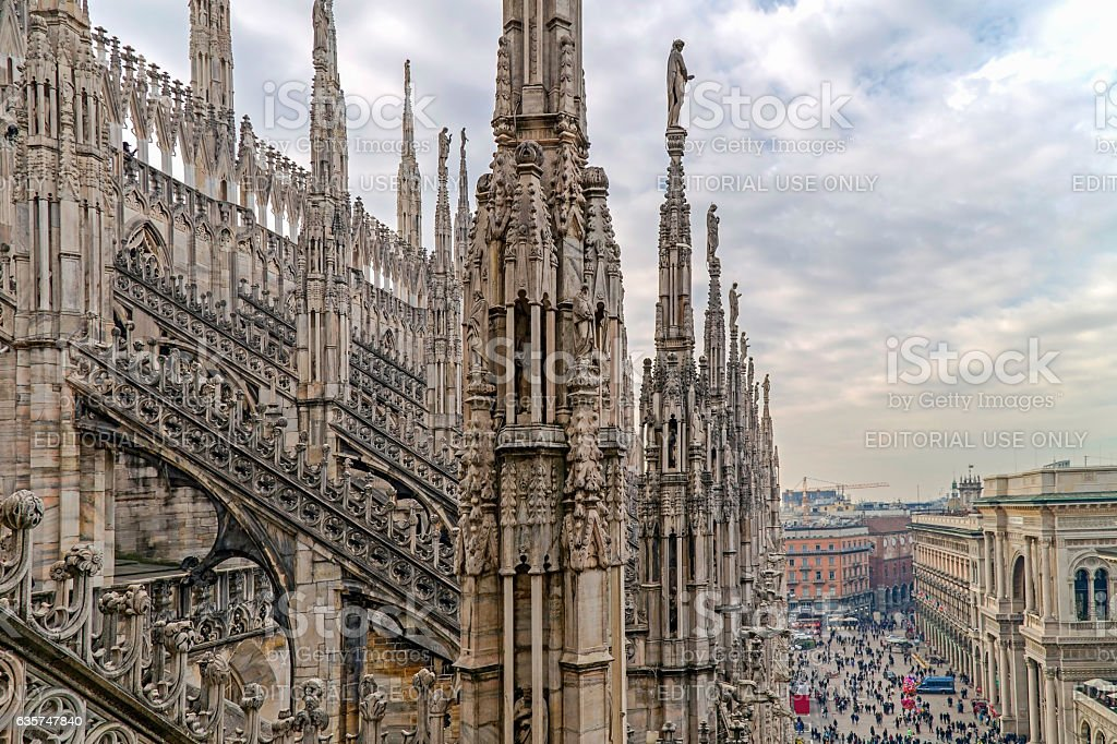 One part of famous Milan Cathedral stock photo