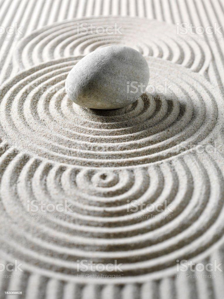 One Pebble Three Circles for Feng Shui stock photo