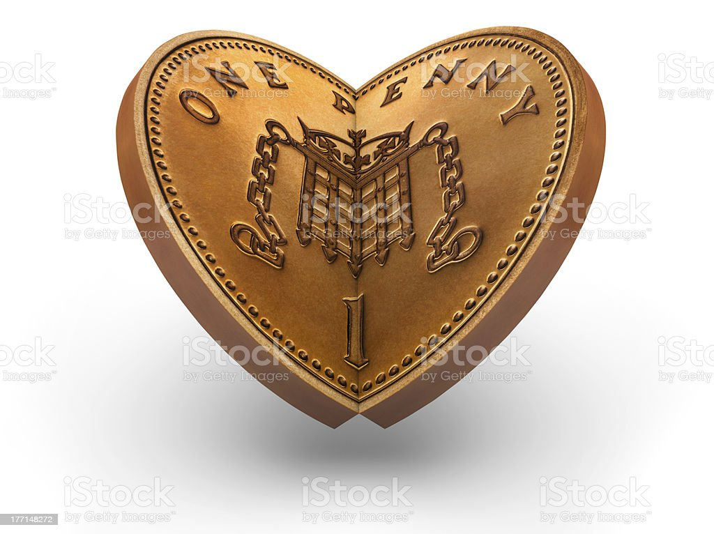 One Pence Coin making a heart stock photo