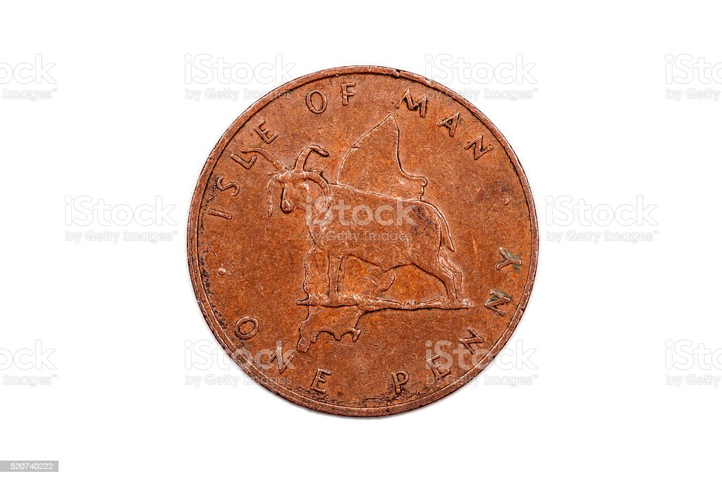 One Penny 1976 from the Isle of Man reverse stock photo