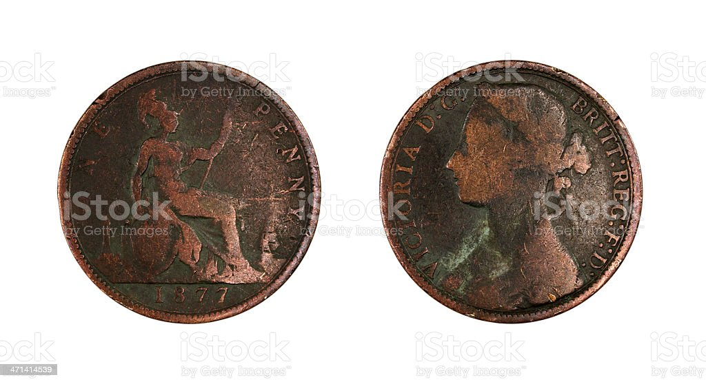 One Penny of 1877 stock photo