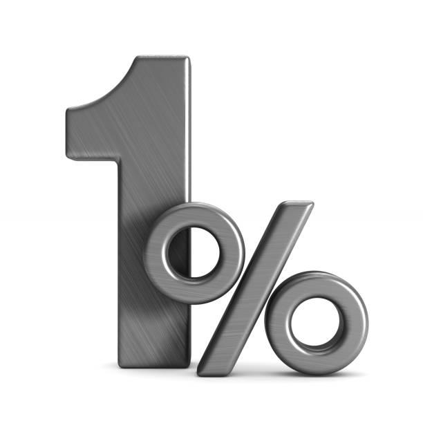 Um por cento em fundo branco. Ilustração 3D isolada - foto de acervo