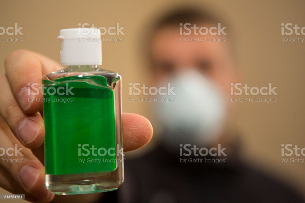 One person a man is fighting Ebola virus himself stock photo