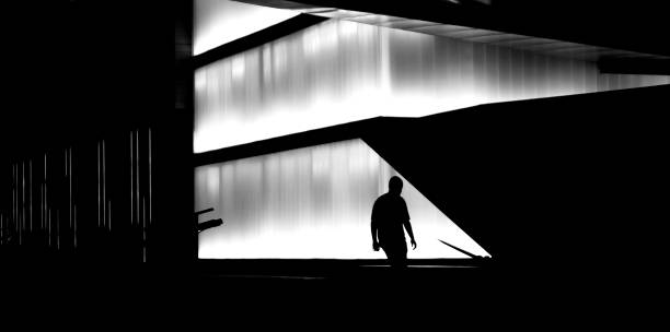one person and modern architecture in the night - high contrast stock pictures, royalty-free photos & images