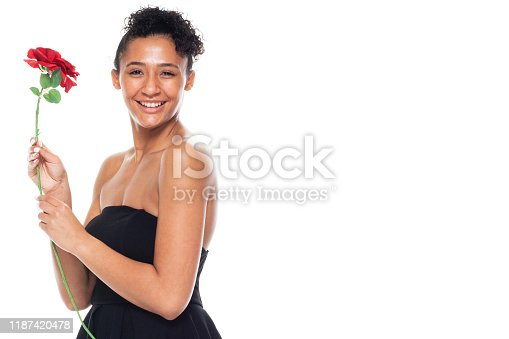 istock One person / front view / waist up of 20-29 years old adult beautiful african ethnicity / african-american ethnicity female / young women standing wearing dress who is smiling / happy / cheerful / love - emotion / cool attitude with copy space 1187420478