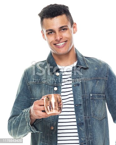 istock One person / full length / front view / waist up of 20-29 years old adult handsome people / tall person african ethnicity / african-american ethnicity male / young men standing in front of white background wearing denim jacket / cool attitude 1175543420